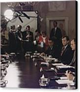 President Bush Participates In A Full Canvas Print