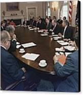 President George Bush Conducts A Full Canvas Print
