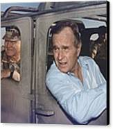 President George Bush Riding In An Canvas Print by Everett