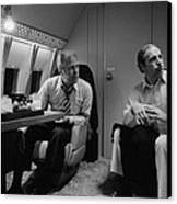 President Gerald Ford Aboard Air Force Canvas Print by Everett