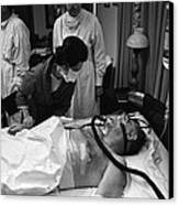 President Johnson After Surgery. Lady Canvas Print