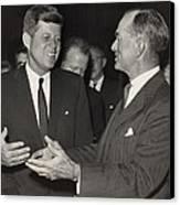 President Kennedy Talking With Arkansas Canvas Print by Everett