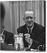 President Lyndon Johnson Gesturing Canvas Print by Everett