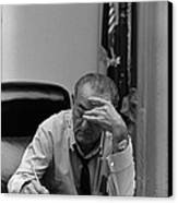 President Lyndon Johnson Making Notes Canvas Print by Everett