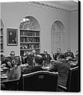 President Lyndon Johnson Meets With The Canvas Print by Everett