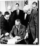 President Lyndon Johnson Signs The 24th Canvas Print by Everett