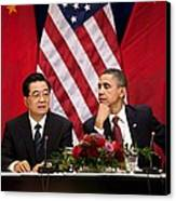 President Obama And Chinese President Canvas Print