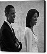President Obama And First Lady Bw Canvas Print by David Dehner