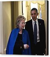 President Obama And Hillary Clinton Canvas Print by Everett