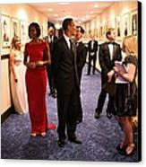 President Obama And Michelle Obama Wait Canvas Print by Everett
