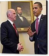 President Obama Meets With Greek Prime Canvas Print