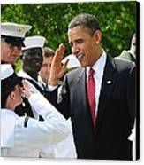 President Obama Salutes A Sailor Canvas Print by Everett