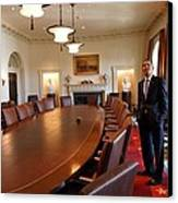 President Obama Surveys The Cabinet Canvas Print by Everett
