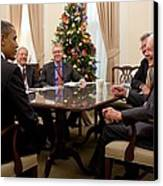 President Obama Talks With Former Canvas Print