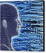 Printed Circuit Board And Wireframe Head Canvas Print by Pasieka