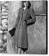 Priscilla Lane Modeling Houndstooth Canvas Print by Everett