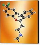 Prozac Antidepressant Molecule Canvas Print by Miriam Maslo