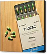 Prozac Pack With Pills On Wooden Surface Canvas Print