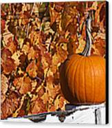 Pumpkin On White Fence Post Canvas Print by Garry Gay