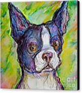 Purple Boston Terrier Canvas Print by M C Sturman
