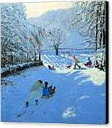 Pushing The Sledge Canvas Print by Andrew Macara