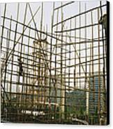 Rare Bamboo Scaffolding Used In Hong Canvas Print