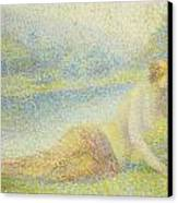 Reclining Nude Canvas Print by Hippolyte Petitjean