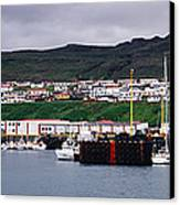 Recreation And Fishing Boats In Stykkisholmur Harbor Canvas Print by Jeremy Woodhouse