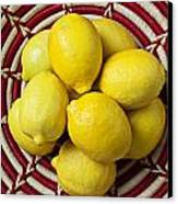 Red And White Basket Full Of Lemons Canvas Print