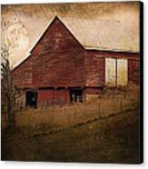 Red Barn In The Evening Canvas Print by Kathy Jennings