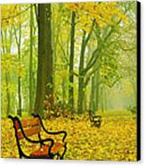 Red Benches In The Park Canvas Print