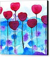 Red Flowers Watercolor Painting Canvas Print