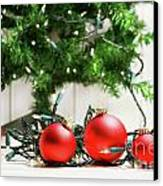 Red Glass Balls With Lights  Canvas Print by Sandra Cunningham
