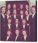 Red Haired Women In Front Of Elevator Canvas Print by Archive Holdings Inc.