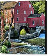 Red Mill On The Water Canvas Print