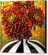 Red Mums In Striped Vase Canvas Print by Garry Gay