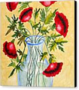 Red Poppies In A Vase Canvas Print