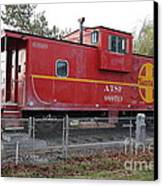 Red Sante Fe Caboose Train . 7d10329 Canvas Print by Wingsdomain Art and Photography
