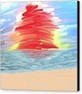 Red Sun Setting Canvas Print by Heidi Smith
