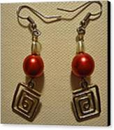 Red Twisted Square Earrings Canvas Print by Jenna Green