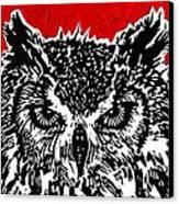 Redder Hotter Eagle Owl Canvas Print by Julia Forsyth