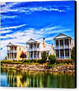 Reflecting On New Town 3 Canvas Print by Bill Tiepelman