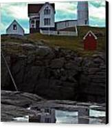 Reflections Of Nubble Lighthouse Canvas Print by Scott Moore