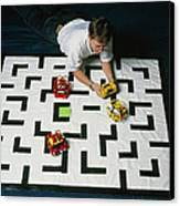 Researcher Testing Lego Robots Playing Pacman Canvas Print by Volker Steger