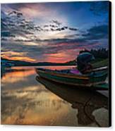 Rest Time Wood Boat Canvas Print by Arthit Somsakul