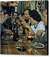 Restaurant Diners Eat Snails, Drink Canvas Print by Justin Locke