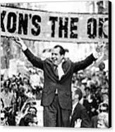 Richard Nixon, Delivering His The V Canvas Print by Everett