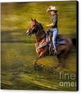 Riding Thru The Meadow Canvas Print by Susan Candelario