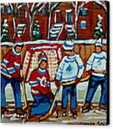 Rink Hockey Montreal Street Scenes Canvas Print by Carole Spandau