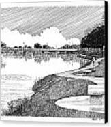 Riverwalk On The Pecos Canvas Print by Jack Pumphrey